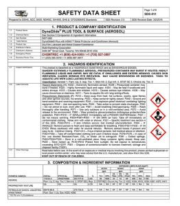 DynaGlide Product Safety Data Sheets (SDS), DynaGlide Tool & Surface, DG-5 Fishing Line, Rod & Reel — Hornady One Shot Product Line — Sound Synergies Product Line