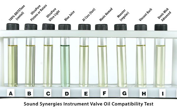 DynaGlide Plus product testing for musical instrument valve oil compatibility.